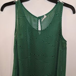 Lush green & navy sheer tank top